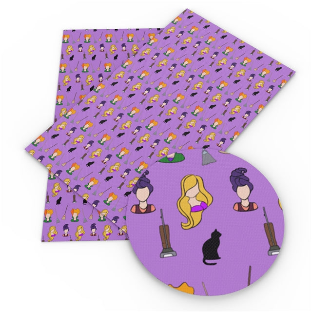 Purple Witch Trio Faux Leather Sheet