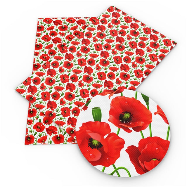 Poppies Faux Leather Sheet