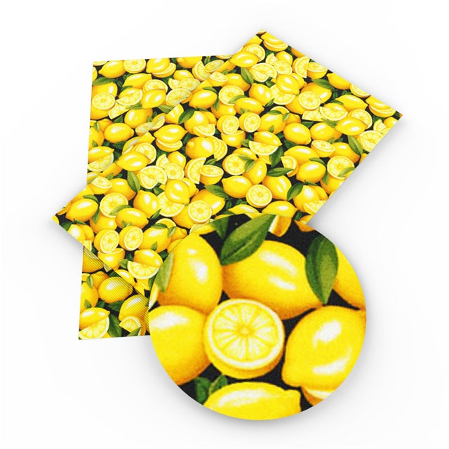 Fresh Lemons Faux Leather Sheet