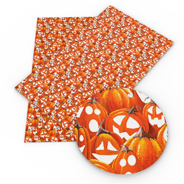 Jack-o-Lanterns and Ghosts Faux Leather Sheet