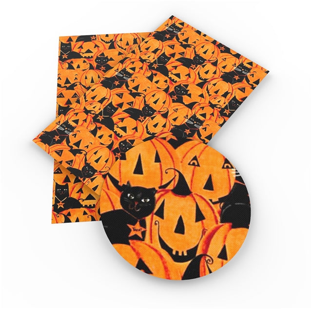 Cats and Pumpkins Faux Leather Sheet