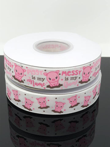 "7/8"" USDR Piggy is My Name Ribbon - White"