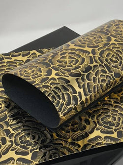 Black and Gold Floral Synthetic Leather Sheet