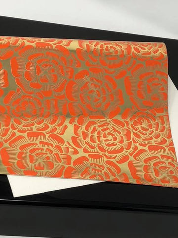 Red and Gold Floral Synthetic Leather Sheet