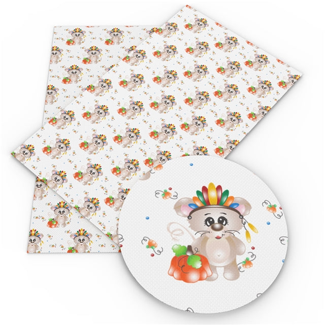 Thanksgiving Mouse Faux Leather Sheet