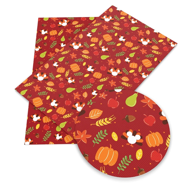 Red with White Turkey Mouse Faux Leather Sheet