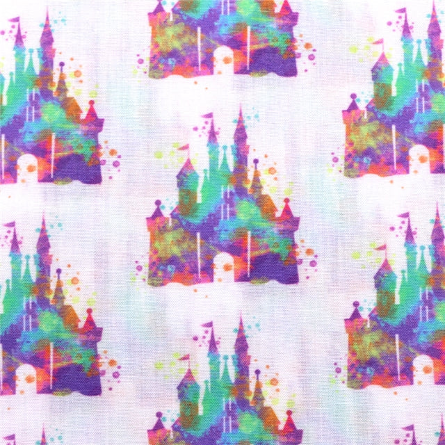 Watercolor Castle Poly/Cotton Blend Fabric - Half Yard