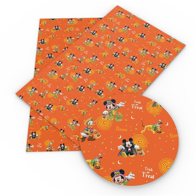 Orange Halloween Mouse Faux Leather Sheet