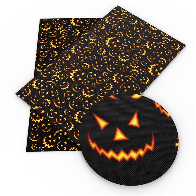 Jack-o-Lantern Faces Faux Leather Sheet