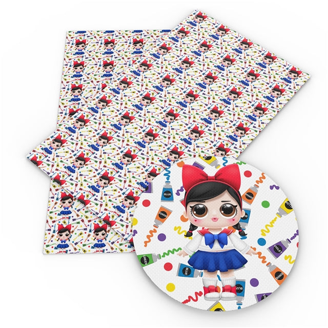 Big Eyed Girls School Girl Faux Leather Sheet