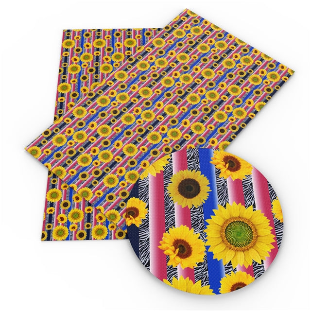 Zebra Sunflowers Faux Leather Sheet