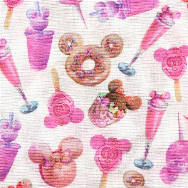 Pink Theme Park Treats Poly/Cotton Blend Fabric - Half Yard