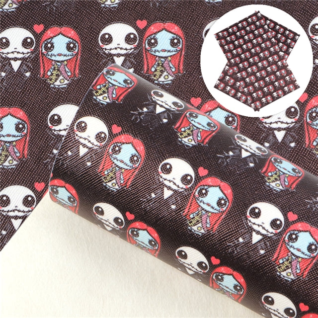 Cute Jack and Sally Faux Leather Sheet