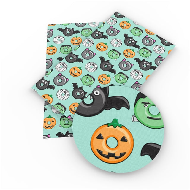 Halloween Donuts Faux Leather Sheet