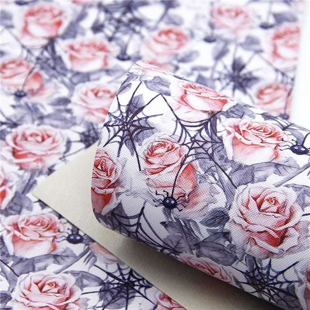 Spider Webs and Roses Faux Leather Sheet