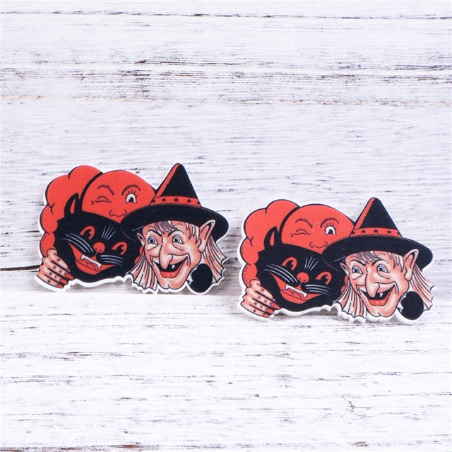 Vintage Witch and Cat Planar Resin