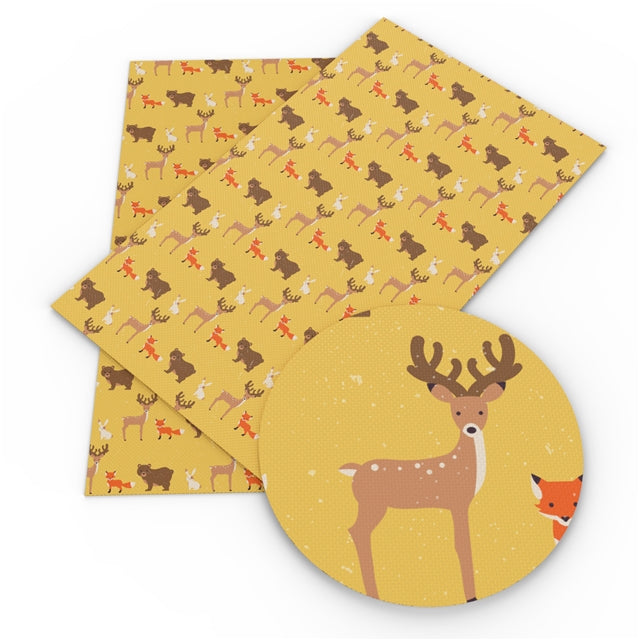 Yellow Animals Faux Leather Sheet