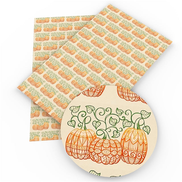 Scroll Pumpkin Trio Faux Leather Sheet