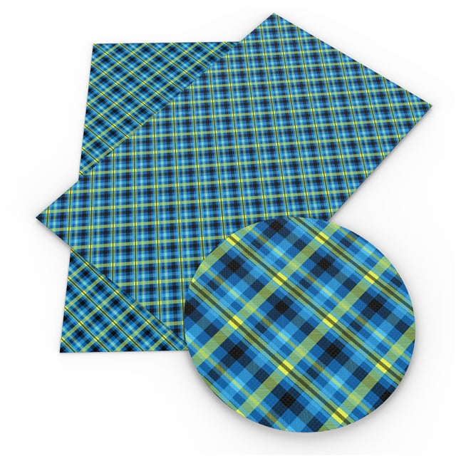 Blue and Yellow Plaid Faux Leather Sheet