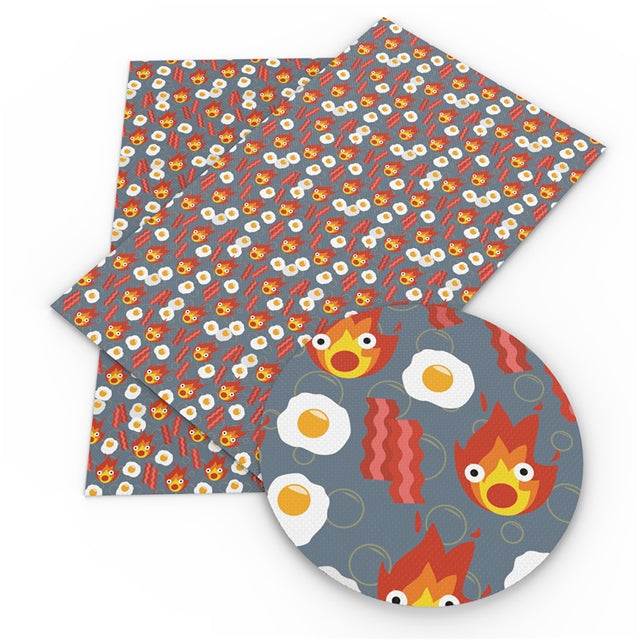 Calcifer Bacon and Eggs Faux Leather Sheet