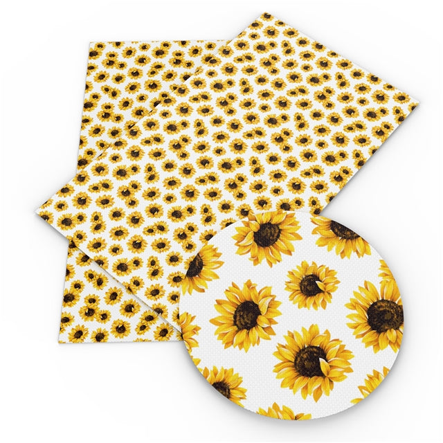 White Watercolor Sunflowers Faux Leather Sheet