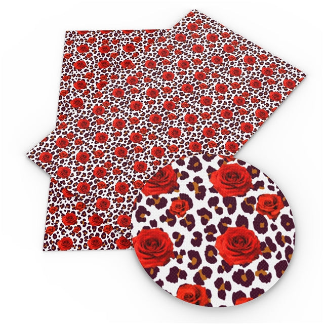 Leopard Roses Faux Leather Sheet