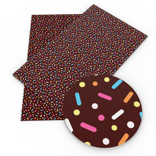 Chocolate Sprinkles Faux Leather Sheet