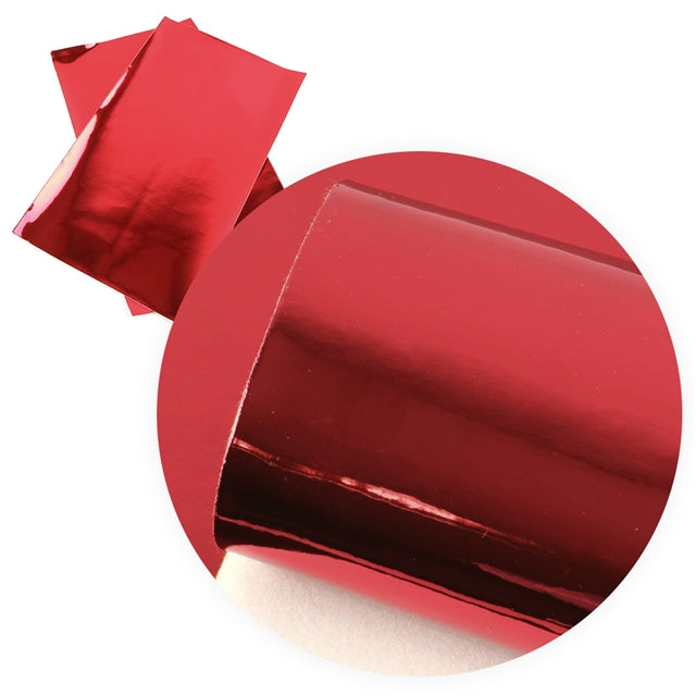 Red Mirror Metallic Faux Leather Sheet