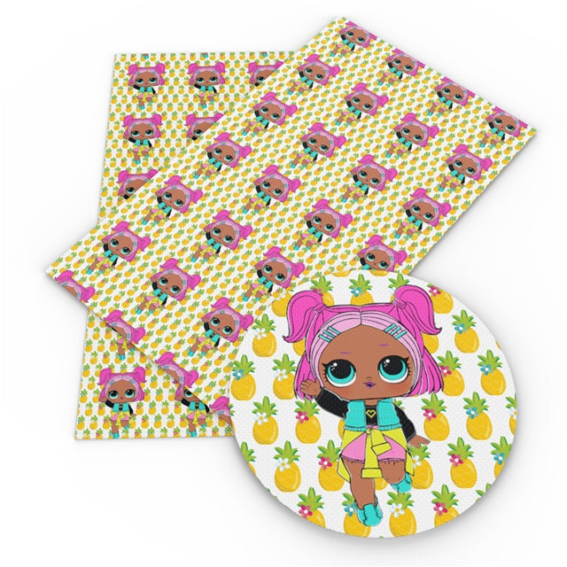 Big Eyed Girls Pineapple Faux Leather Sheet