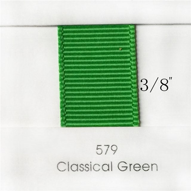 "3/8"" Solid Classical Green Ribbon"