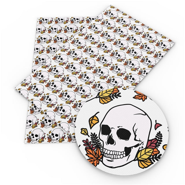Fall Skulls Faux Leather Sheet