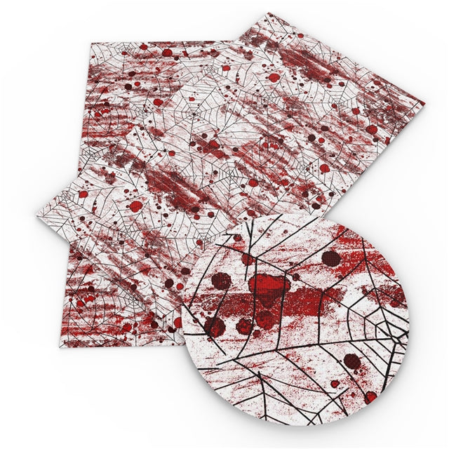 Spider Web Blood Splatter Faux Leather Sheet