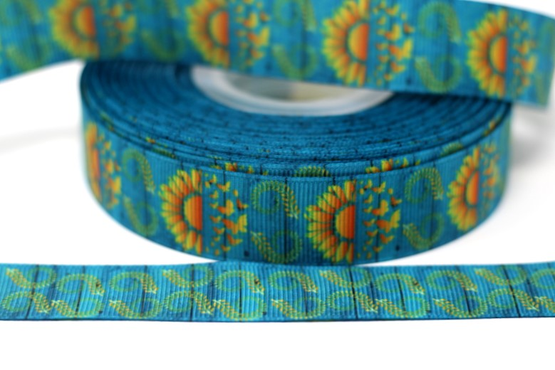 "7/8"" USDR Double Sided Sunflowers and Butterflies Ribbon"