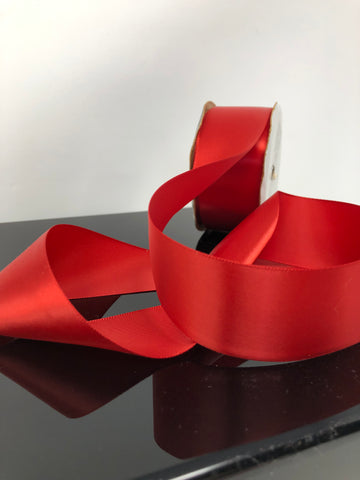 "1.5"" Red Single Faced Satin Ribbon"