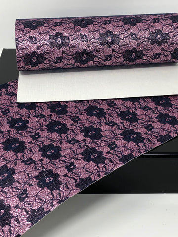 Navy Lace and Pink Glitter Sheet