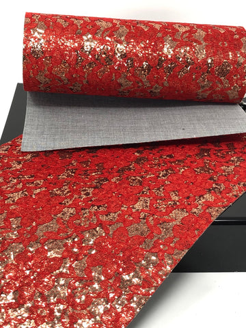 Red Lace and Champagne Glitter Sheet