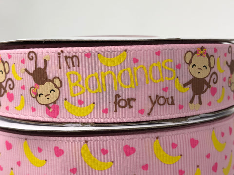 "7/8"" USDR Bananas For You Ribbon - Pearl Pink"