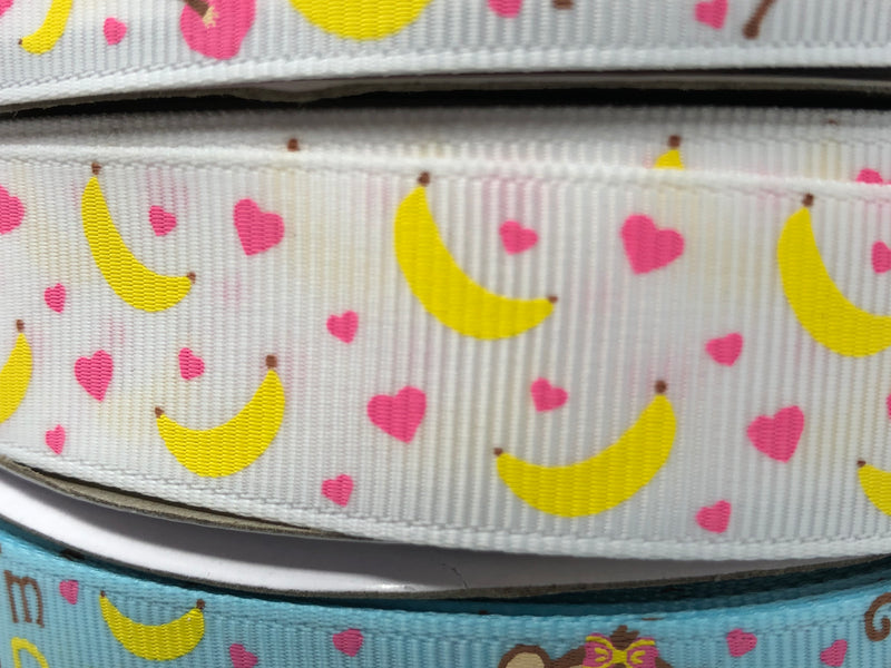 "7/8"" USDR Bananas For You Ribbon - White"