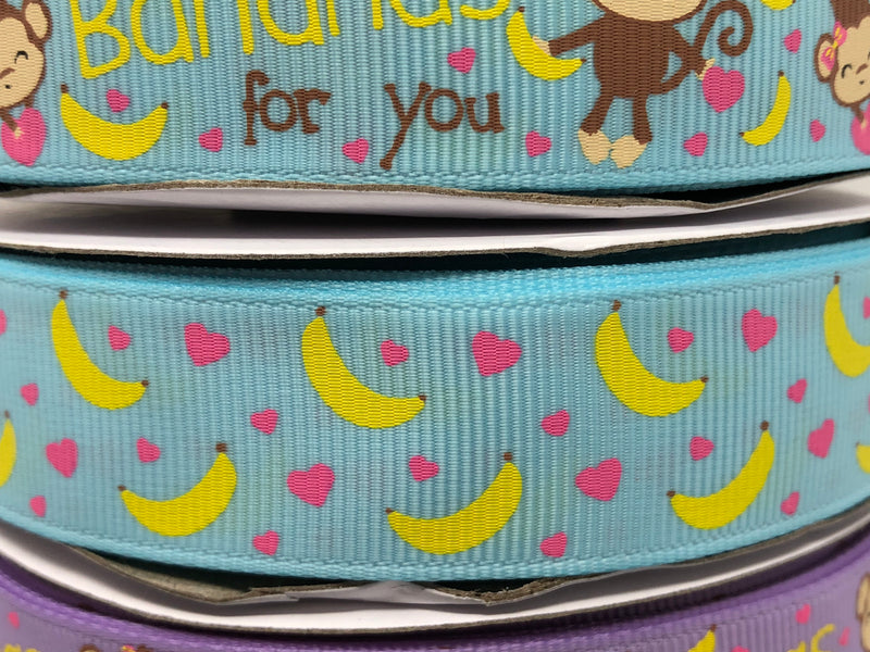 "7/8"" USDR Bananas For You Ribbon - Ocean Blue"