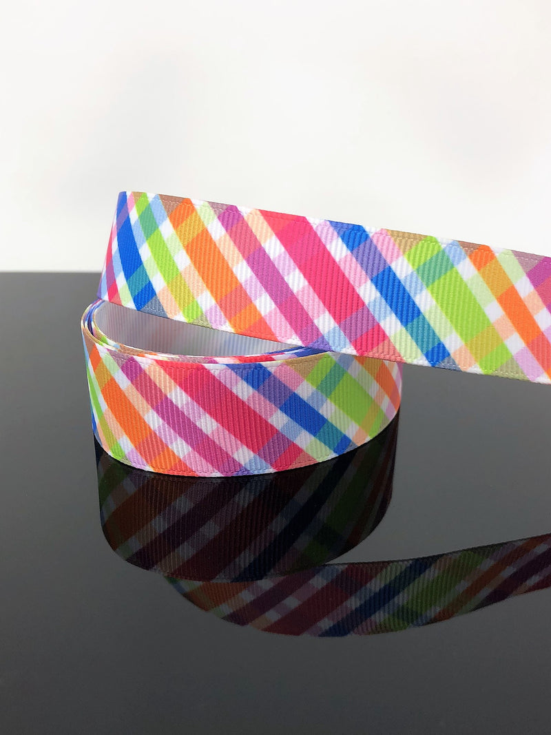 "7/8"" Rainbow Plaid Ribbon"