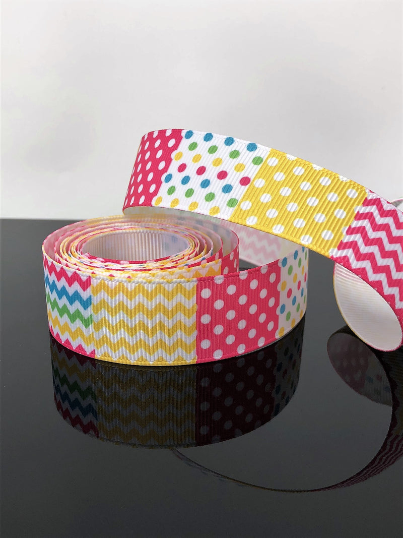 "7/8"" Spring Patchwork Ribbon"