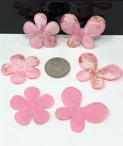 Pink Floral Butterfly and Flower Applique Set