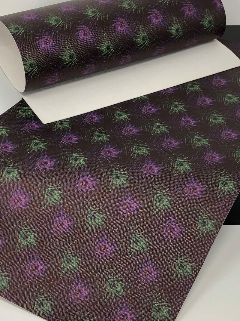 Purple and Green Peacock Feathers Sheet