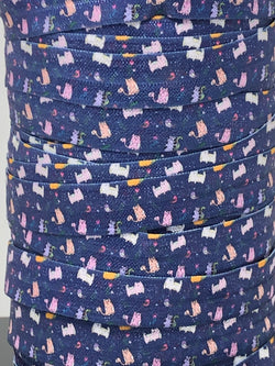 Navy Blue Kitties Fold Over Elastic