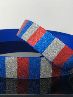 "1"" Electric Blue Patriotic Glitter Ribbon"