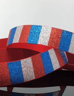 "1"" Red Patriotic Glitter Ribbon"