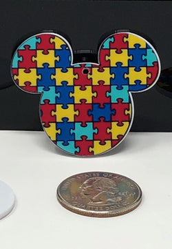 Mouse Head Autism Awareness Planar Resin
