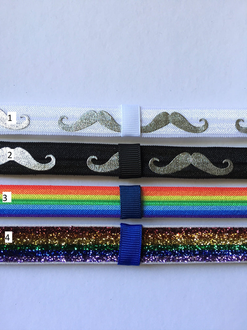 Mustache, Rainbow Interchangeable Headband