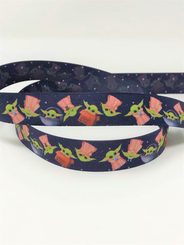 "7/8"" USDR Scattered Space Baby Double Sided Ribbon"