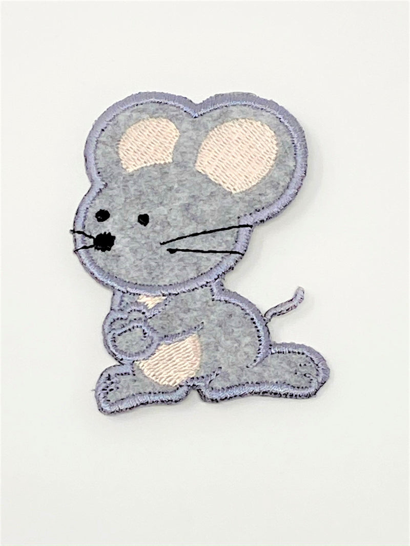 Grey Mouse Iron-On Patch